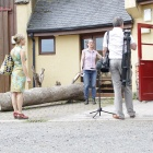 Preparing to film at the woodwork
